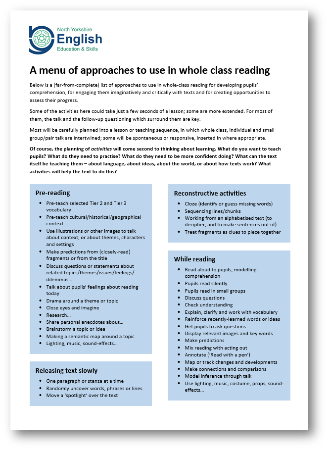 whole class reading an example lesson and a menu of approaches